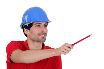 Foreman showing something with his pencil