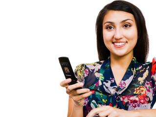 Beautiful woman text messaging