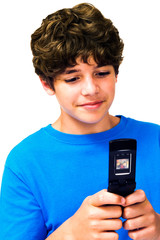 Happy boy text messaging
