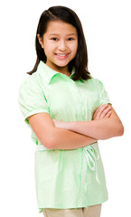 Asian girl standing with arms crossed