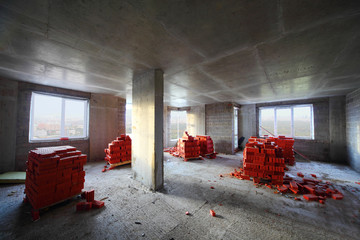 construction room with brick, indoor