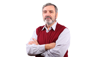 serious senior man stand in cardigan