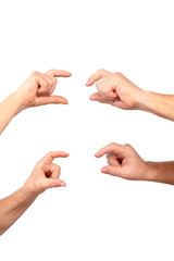 senior hands of man, woman show hold in finger gesture