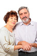 smiling senior couple hold for hands, hug, isolated