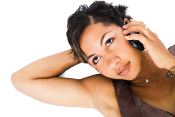 Close-up of a woman talking on mobile