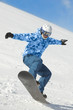 Snowboarder balances when lands after fly on snowboard
