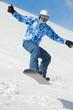 Snowboarder balances when flies in jump on snowboard