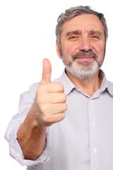 senior man show big finger, good gesture, isolated