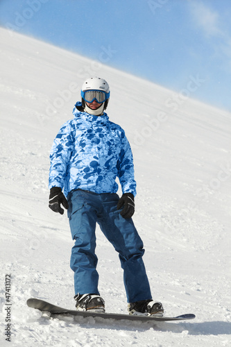 Snowboarder in ski suit and helmet stands on snowboard