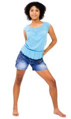 Smiling teenage girl posing
