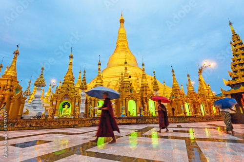 Shwedagon Pagoda at early morning in Yangon, Myanmar.