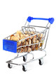 Small shopping cart with pistachios isolated on white background
