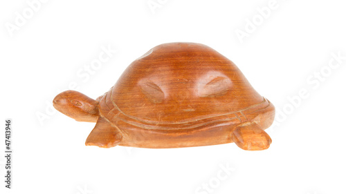Wooden turtle, isolated