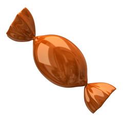 Orange candy isolated on white background