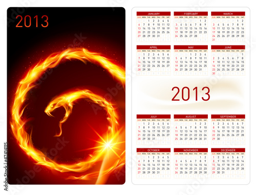 Calendar twenty thirteen. Fire Snake