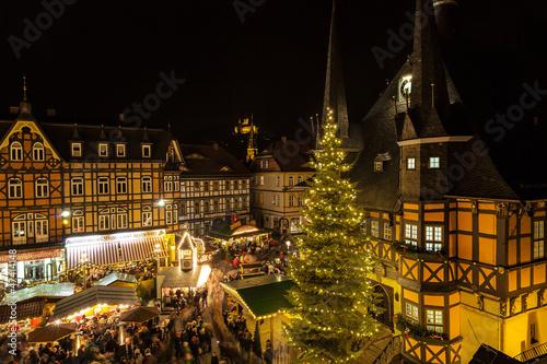 Leinwandbild Motiv Weihnachtsmarkt in Wernigerode