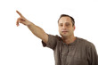 man on a white background indicates the finger
