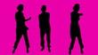 3 female dancing silhouette.