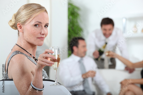 portrait of a woman with glass of wine