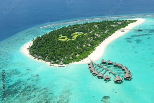 Tropical island in Indian ocean Maldives