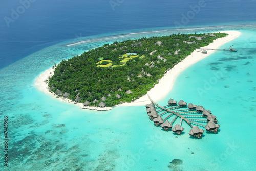 Leinwanddruck Bild Tropical island in Indian ocean Maldives