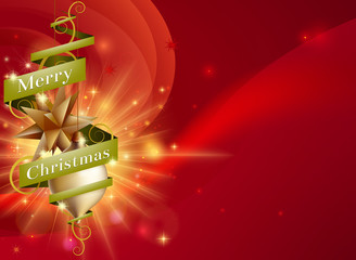 Merry Christmas red ribbon background