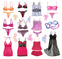 collection of fashionable women's lingerie
