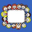 Niñas y niños pequeños formando un marco rectangular