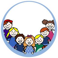 Niñas y niños pequeños en un marco circular