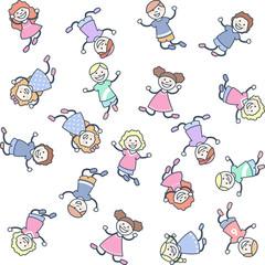 Niñas y niños pequeños saltando y jugando