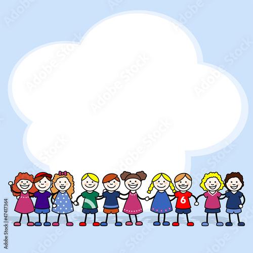 Niñas y niños con una nube de fondo
