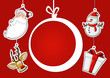 christmas ball, Santa Claus, reindeer, snowman, and gift