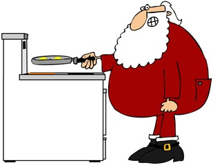 Santa frying eggs