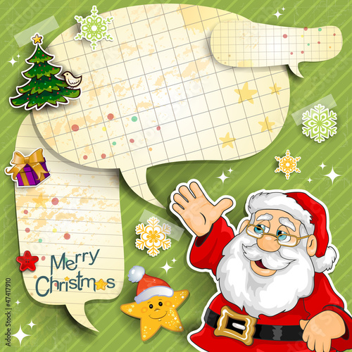 Santa claus cartoon with paper