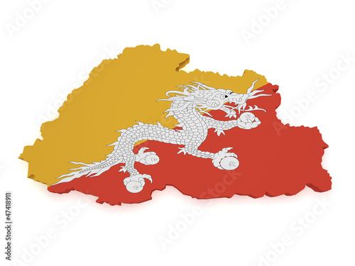 Bhutan Map 3d Shape