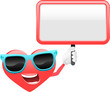 heart cartoon character 3 - with signboard