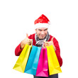 Santa with coloured Bags, isolated