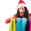 Überraschte Weihnachtsfrau