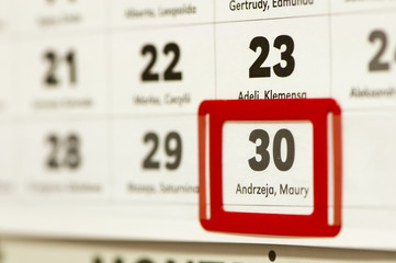 30 december marked on the calendar