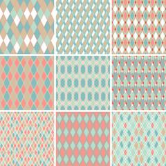 Seamless abstract retro pattern. Set of 9 geometric texture.