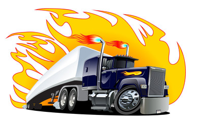 Vector Cartoon Semi Truck. One-click repaint
