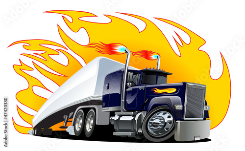 Keuken foto achterwand Cartoon cars Vector Cartoon Semi Truck. One-click repaint