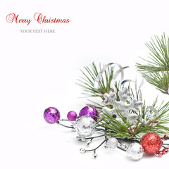 Bright christmas composition  with baubles