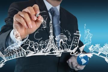 businessman drawing dream travel around the world