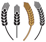 wheat ear icon set