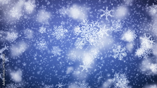 Snowflakes falling. HD 1080. Looped animation.