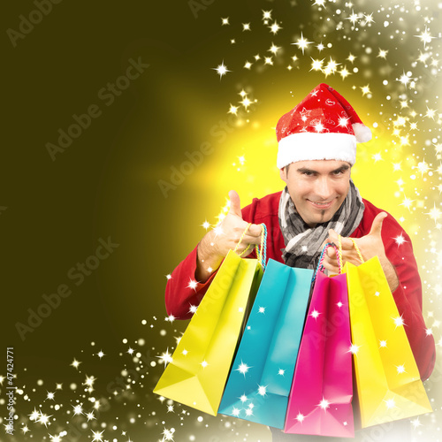 Santa with coloured Bags, gold
