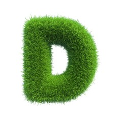 grass letter D isolated on white background