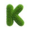 grass letter K isolated on white background