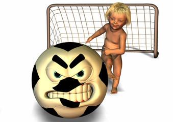 bébé joue au foot